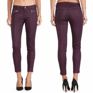 Level 99 Riley skinny wine waxed moto skinny jeans